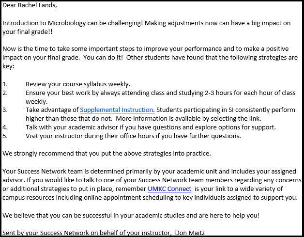 UMKC Connect and Early Alert Sample Emails – Sample Email